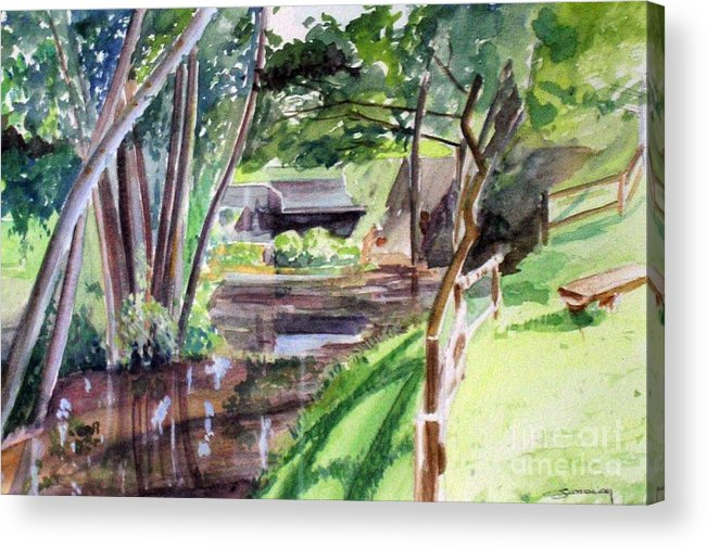 Watermill Acrylic Print featuring the painting Watermill of Gemage watercolor by Christian Simonian