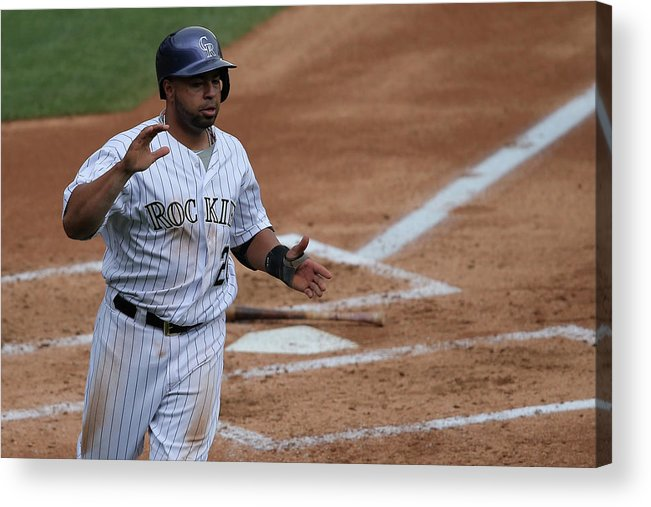 Second Inning Acrylic Print featuring the photograph Wilin Rosario by Doug Pensinger