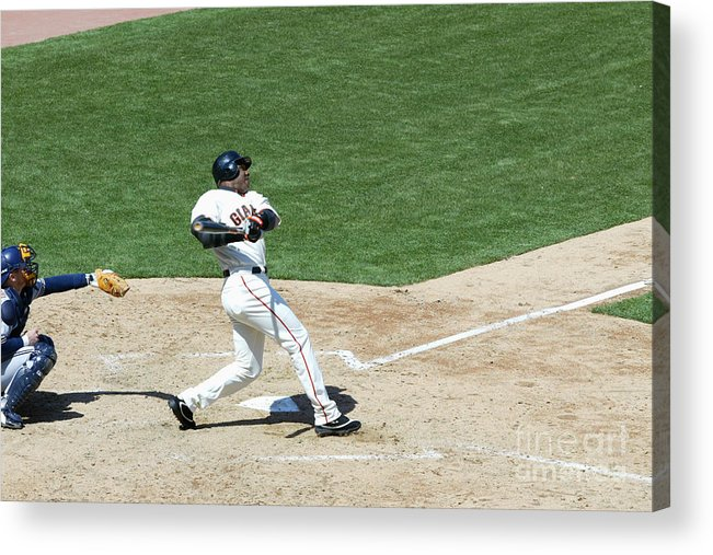 San Francisco Acrylic Print featuring the photograph Willie Mays and Barry Bonds by Jed Jacobsohn