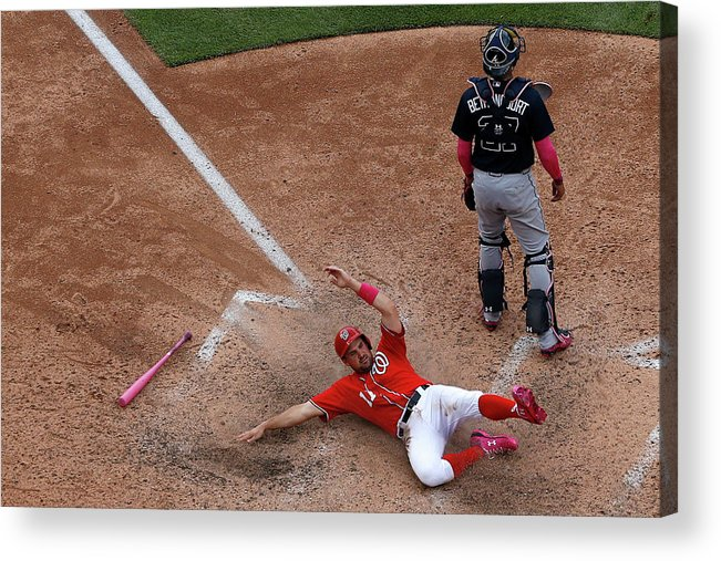 People Acrylic Print featuring the photograph Wilson Ramos and Ryan Zimmerman by Patrick Smith