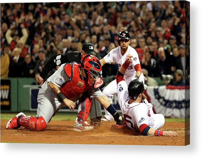 Playoffs Acrylic Print featuring the photograph Yadier Molina and Jonny Gomes by Rob Carr