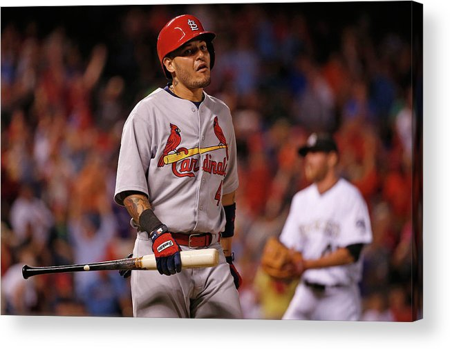 St. Louis Cardinals Acrylic Print featuring the photograph Yadier Molina and Scott Oberg by Doug Pensinger