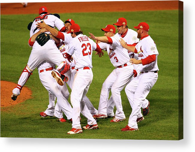 St. Louis Cardinals Acrylic Print featuring the photograph Yadier Molina, Gerald Laird, and David Freese by Dilip Vishwanat