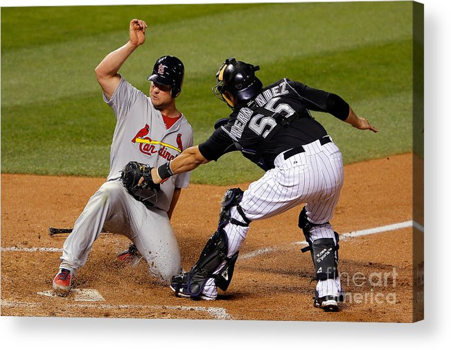 St. Louis Cardinals Acrylic Print featuring the photograph Yadier Molina, Matt Holliday, and Ramon Hernandez by Doug Pensinger