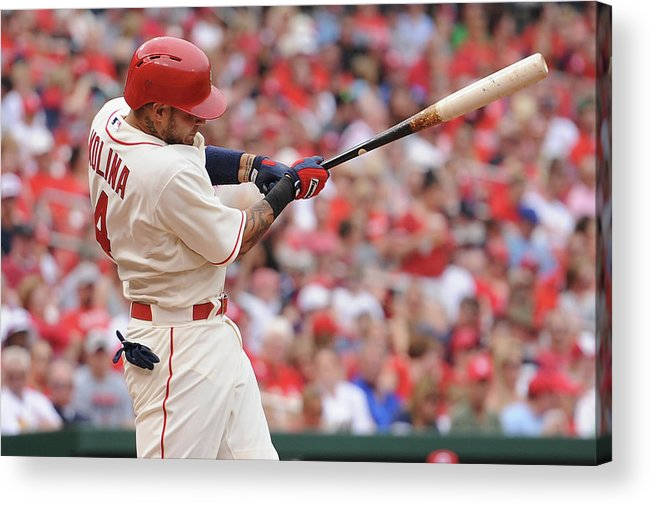 St. Louis Cardinals Acrylic Print featuring the photograph Yadier Molina by Michael Thomas