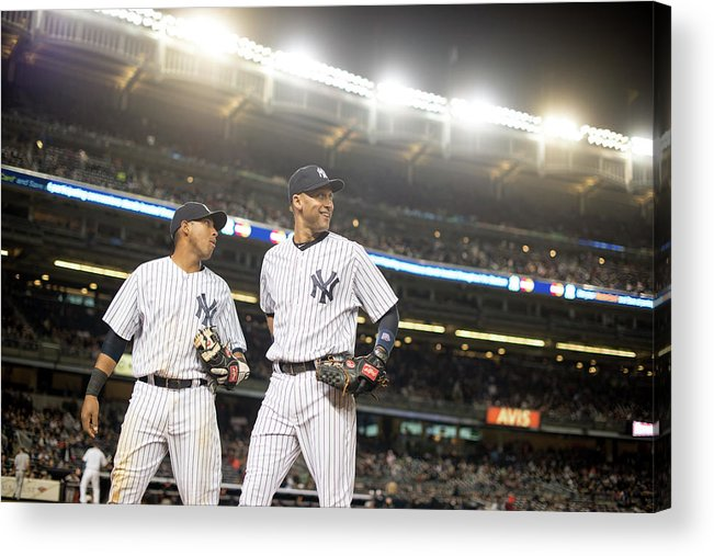 American League Baseball Acrylic Print featuring the photograph Yangervis Solarte and Derek Jeter by Rob Tringali
