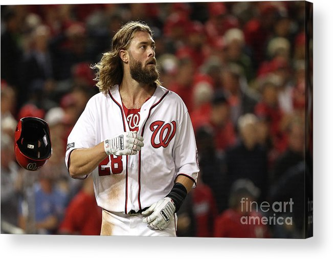People Acrylic Print featuring the photograph Yasmani Grandal and Jayson Werth by Patrick Smith
