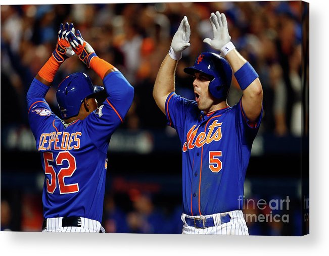Yoenis Cespedes Acrylic Print featuring the photograph Yoenis Cespedes, Alex Wood, and David Wright by Mike Stobe