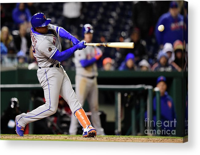 Yoenis Cespedes Acrylic Print featuring the photograph Yoenis Cespedes and Juan Lagares by Patrick Mcdermott