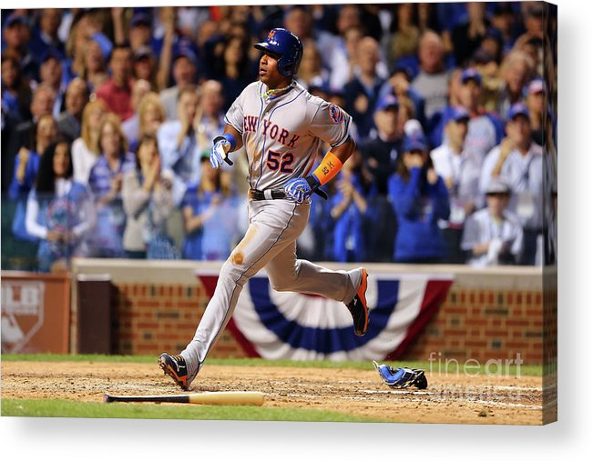 Yoenis Cespedes Acrylic Print featuring the photograph Yoenis Cespedes and Trevor Cahill by Elsa