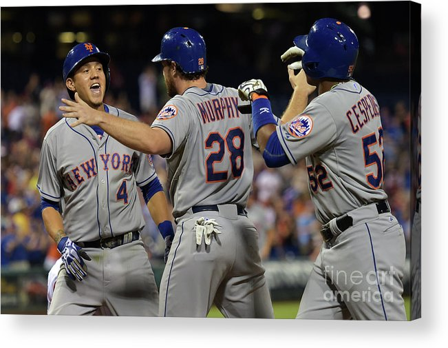 Yoenis Cespedes Acrylic Print featuring the photograph Yoenis Cespedes, Daniel Murphy, and Wilmer Flores by Drew Hallowell