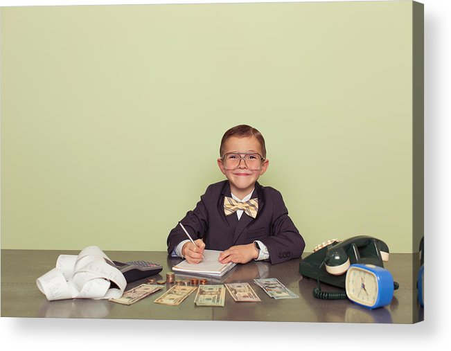 Working Acrylic Print featuring the photograph Young Boy Accountant Records Taxes to be Paid by Andrew Rich