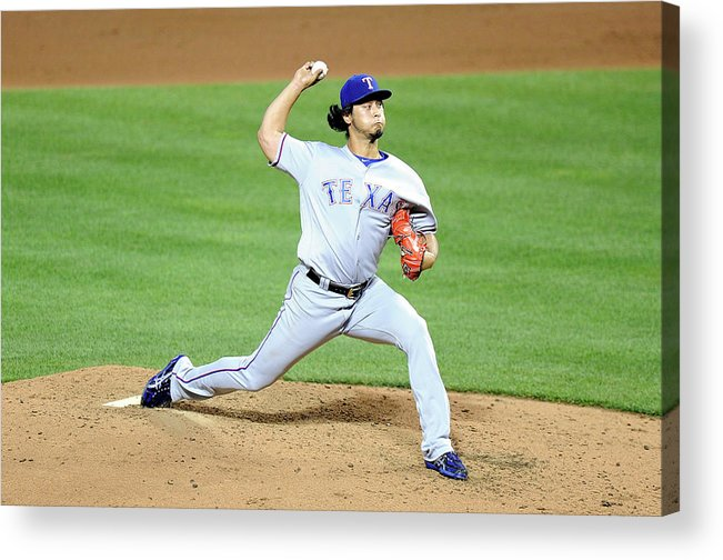 People Acrylic Print featuring the photograph Yu Darvish by G Fiume