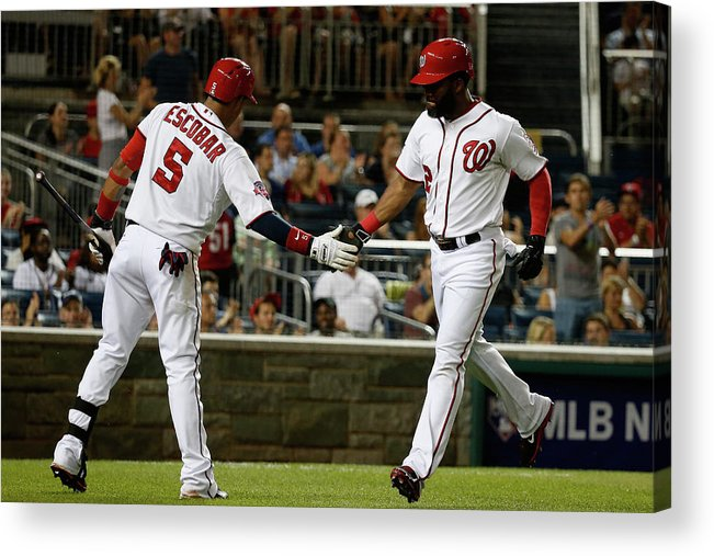 People Acrylic Print featuring the photograph Yunel Escobar and Denard Span by Rob Carr