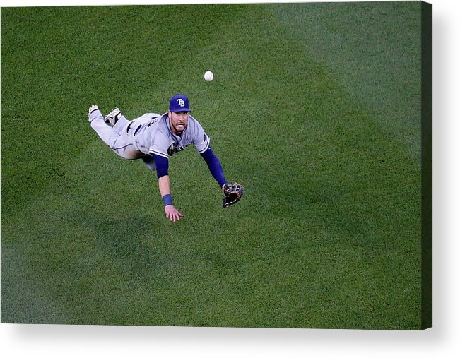Second Inning Acrylic Print featuring the photograph Yunel Escobar and Kevin Kiermaier by Rob Carr