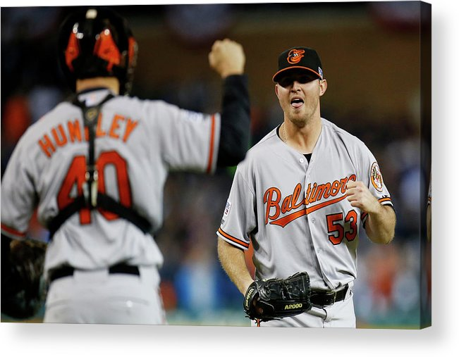 American League Baseball Acrylic Print featuring the photograph Zach Britton and Nick Hundley by Gregory Shamus