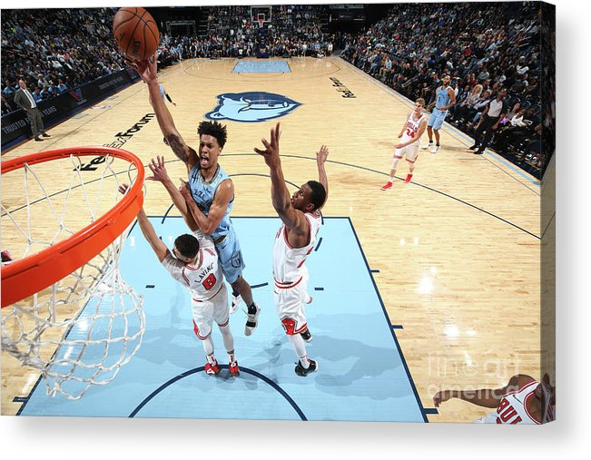 Chicago Bulls Acrylic Print featuring the photograph Zach Lavine and Thaddeus Young by Joe Murphy
