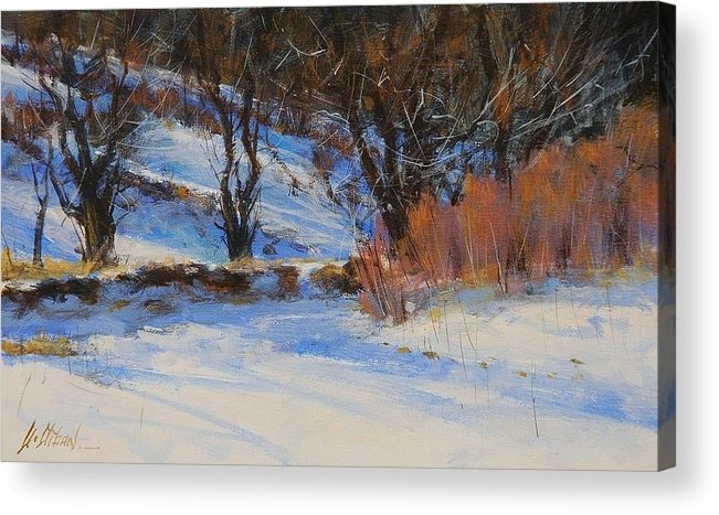 Winter Acrylic Print featuring the painting Snow Garden by Greg Clibon