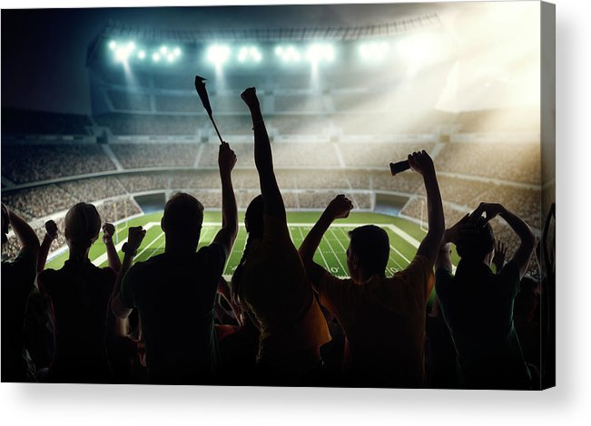 Event Acrylic Print featuring the photograph American Football Fans At Stadium by Dmytro Aksonov