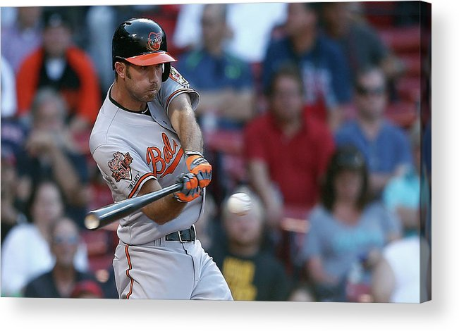 American League Baseball Acrylic Print featuring the photograph Baltimore Orioles V Boston Red Sox by Jim Rogash