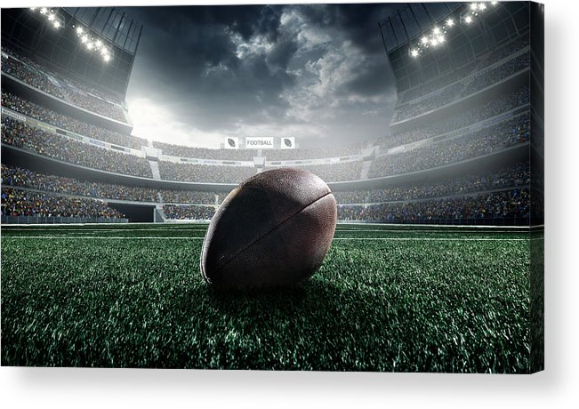 Event Acrylic Print featuring the photograph American Football Ball by Dmytro Aksonov