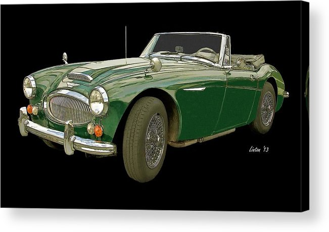 Austin Healey 3000 Acrylic Print featuring the digital art British Racing Green by Larry Linton