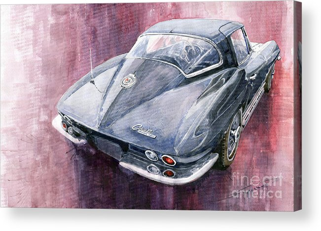 Watercolor Acrylic Print featuring the painting Chevrolet Corvette Sting Ray 1965 by Yuriy Shevchuk