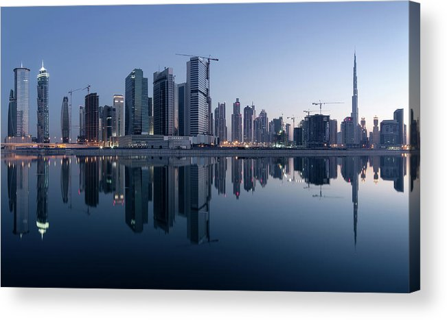 Tranquility Acrylic Print featuring the photograph Dubai Business Bay Skyline With by Spreephoto.de