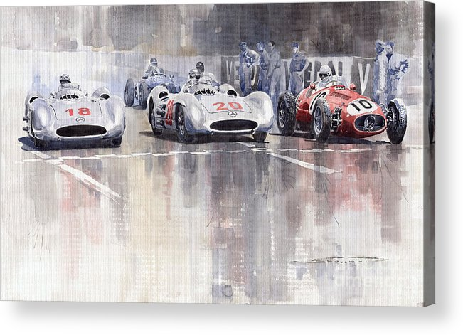 Watercolour Acrylic Print featuring the painting French GP 1954 MB W 196 Meserati 250 F by Yuriy Shevchuk