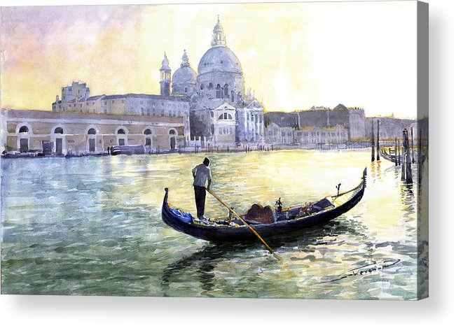 Watercolor Acrylic Print featuring the painting Italy Venice Morning by Yuriy Shevchuk