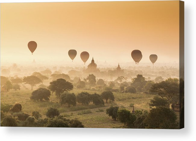 Tranquility Acrylic Print featuring the photograph Myanmar Burma - Balloons Flying Over by 117 Imagery