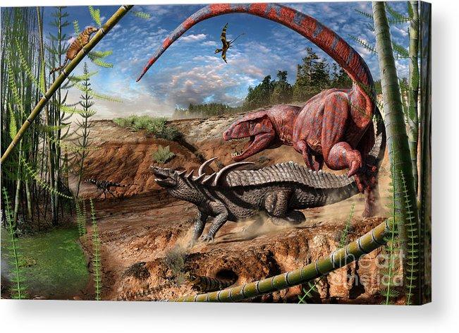 Dinosaur Acrylic Print featuring the digital art Triassic mural 2 by Julius Csotonyi