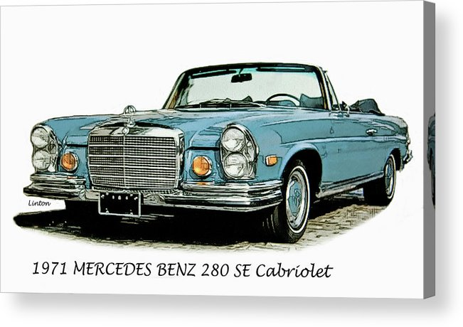 Mercedes Benz Acrylic Print featuring the digital art Cabriolet by Larry Linton