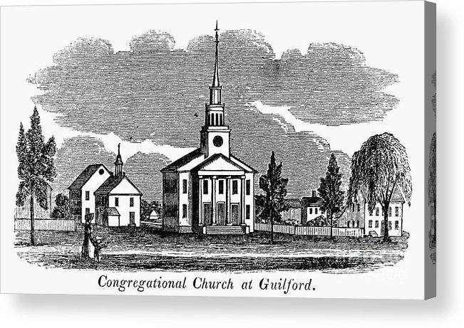 1836 Acrylic Print featuring the photograph Connecticut: Church, 1836 by Granger