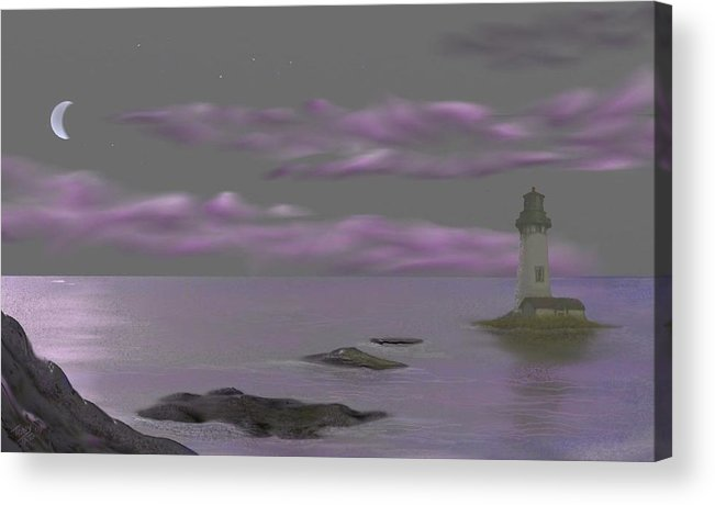 Lighthouse Acrylic Print featuring the digital art Lighthouse by Tony Rodriguez