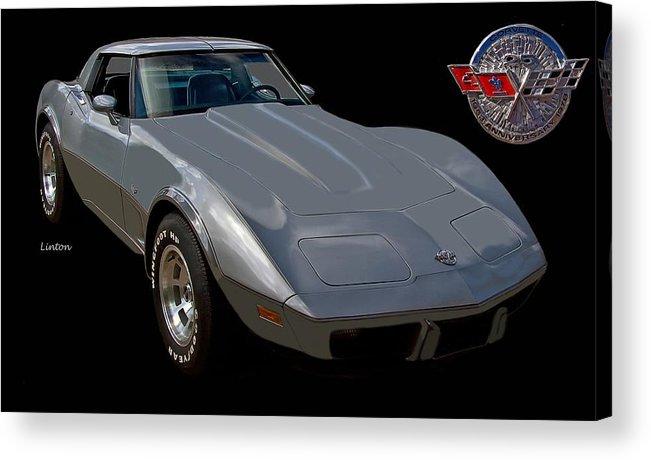 Chevrolet Corvette Acrylic Print featuring the photograph Anniversary Corvette by Larry Linton