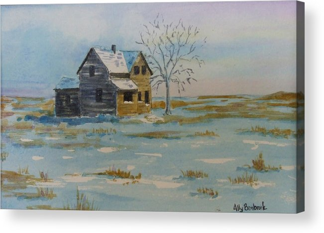 Abandoned Acrylic Print featuring the painting Barren Prairie by Ally Benbrook