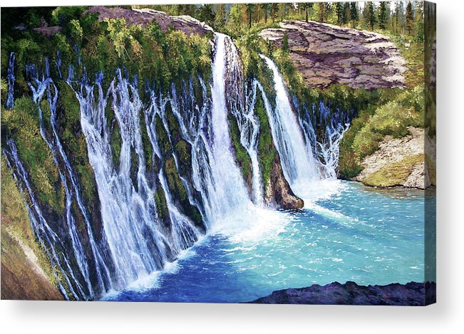 Burney Falls In Northern California Acrylic Print featuring the painting Burney Falls by Donald Neff