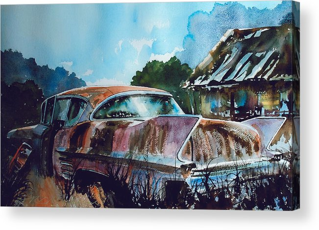 Caddy Acrylic Print featuring the painting Caddy Subsiding by Ron Morrison