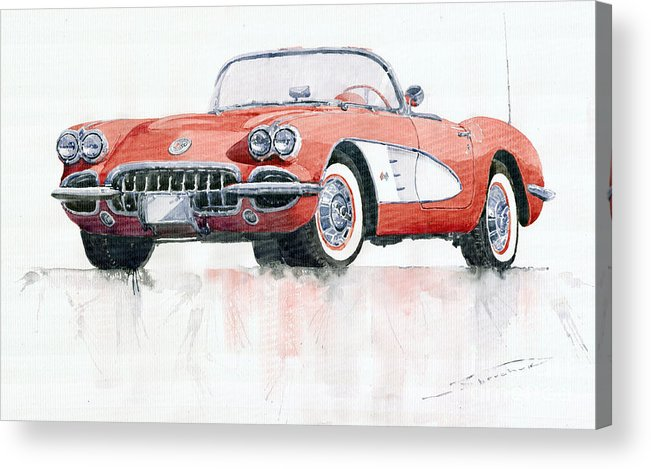 Watercolor Acrylic Print featuring the painting Chevrolet Corvette C1 1960 by Yuriy Shevchuk