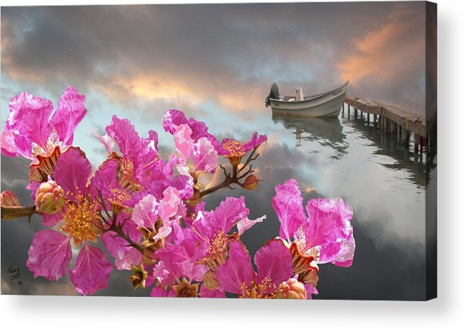 Seascape Acrylic Print featuring the digital art Dreaming in Color by Tony Rodriguez
