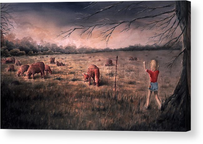 Landscape Acrylic Print featuring the painting A childhood by William Russell Nowicki