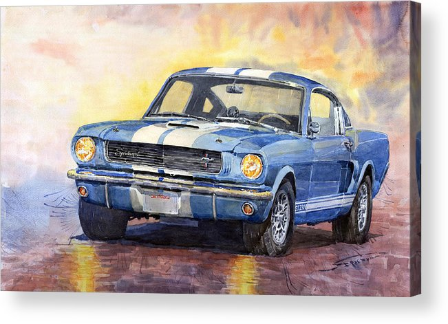Watercolor Acrylic Print featuring the painting 1966 Ford Mustang GT 350 by Yuriy Shevchuk
