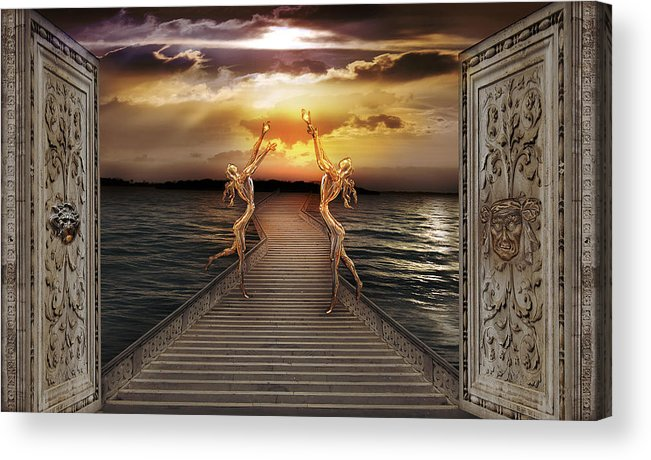 Coast Dream Faeries Figure Horizon Longing Magic Mystery Radiance Sea Sky Stairs Sunset Surrealism Acrylic Print featuring the photograph Guardians of the light by Desislava Draganova