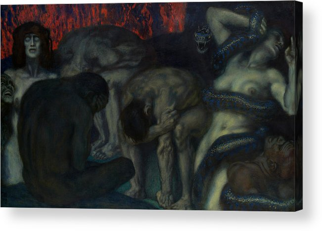 German Art Acrylic Print featuring the painting Inferno by Franz von Stuck