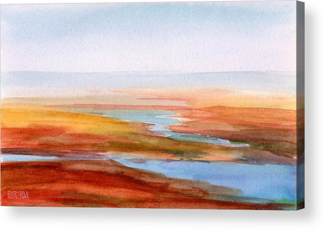 Seascape Acrylic Print featuring the painting Low Tide Cape Cod by Beverly Brown
