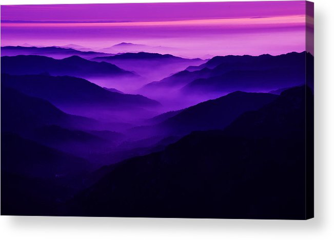 Darin Volpe Nature Acrylic Print featuring the photograph Misty Valley - Sierra Nevada Foothills, California by Darin Volpe