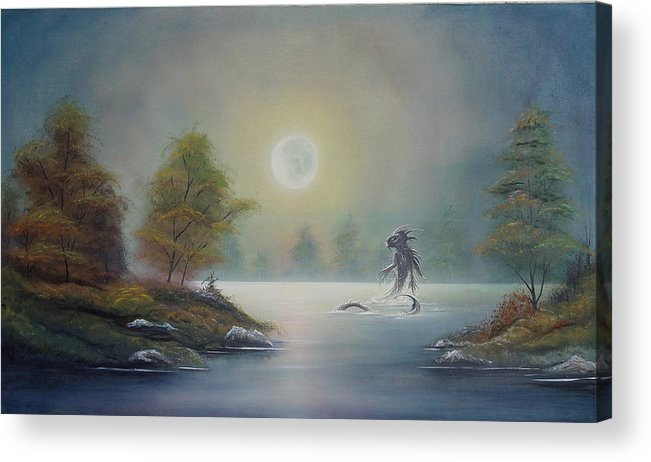 Landscape Acrylic Print featuring the painting Monstruo Ness by Angel Ortiz