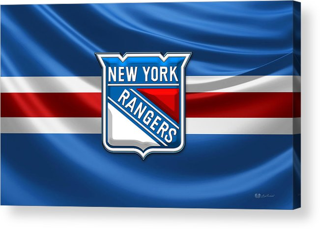 �hockey Hall Of Fame 3d� By Serge Averbukh Acrylic Print featuring the photograph New York Rangers - 3D Badge Over Flag by Serge Averbukh