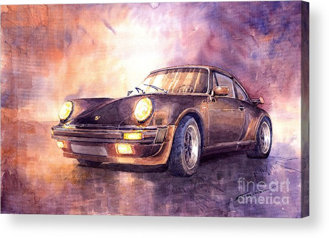 Shevchukart Acrylic Print featuring the painting Porsche 911 Turbo 1979 by Yuriy Shevchuk